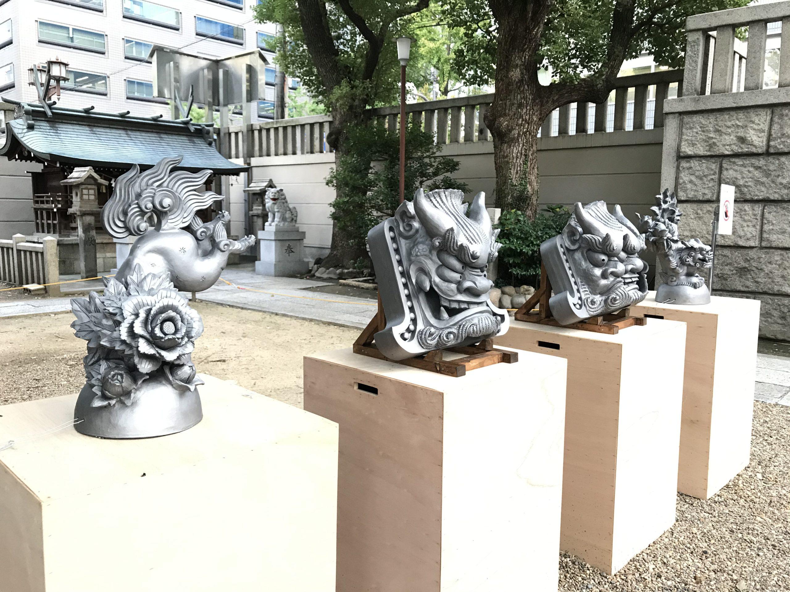 難波神社の獅子、狛犬、アート展示